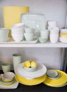 Gray and Yellow Dishes