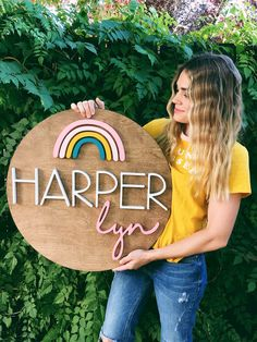 Rainbow sign Rainbow baby sign round wood name sign by the Trendy Timber Nursery Name, Nursery Signs, Girl Nursery, Nursery Ideas, Nursery Decor, Wood Name Sign, Wood Names, Cute Baby Names, Baby Girl Names