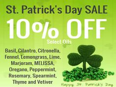 St Patrick's Day Essential Oil Sale!  Get an additional 10% off the sale prices with the coupon code: thenomadlife