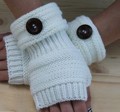 Knitted Arm Warmers WHITE Winter Knit Arm Warmers Fingerless Gloves Hand Warmers