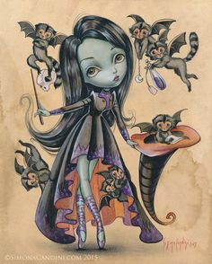 Elphaba and the Flying Monkeys LIMITED EDITION print signed numbered Simona Candini Big eyes art fantasy Wicked Wizard of Oz Witch fairy Art Et Illustration, Illustrations, Betty Boop, Wizard Of Oz Witch, Wicked Witch, Art Noir, Pop Art, Original Paintings, Original Art