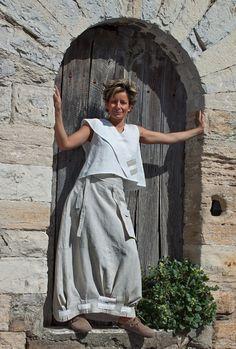 jupe longue en lin naturel-:- AMALTHEE CREATIONS-:- n° 3284