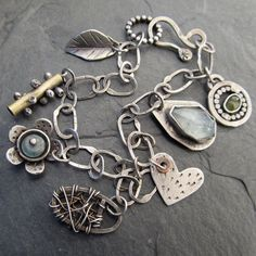 Sterling silver Charm BRACELET Funky Artsy Wire Wrapped by artdi, $245.00