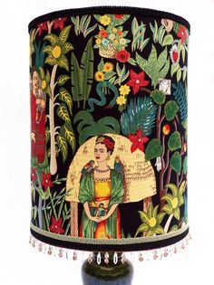 Large Tall Frida Kahlo Luxury Lampshade with Shimmer and Swarovski Crystals