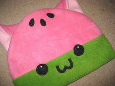 "Title: WATERMELON KITTY. The hat you receive may vary slightly from the one in the photos, due to each hat being handcrafted. Each hat, measuring approximately 23"" around (average head size), is"