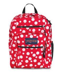 JANSPORT BIG STUDENT BACKPACK SCHOOL BAG - High Risk Red / White Sylvia Dot, $39.99