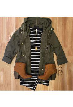 stripes + hooded army green jacket. zazumi.com