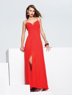 Column Red Sweetheart High Slit Long Prom Dress With Sequins