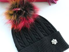 Beanie, Cashmere Wool Knit Blend Beanie Hat with Detachable Genuine Raccoon Fur Pom-Pom Black Beanie and Multi Colored Fur Pom, NEW!