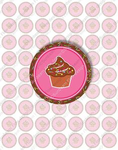 "1 Circles Party 02 Printable Cupcake by SunbeamFlowTemplates, $2.90  1"" Circles Party 02 Printable Cupcake topper Pink & Brown Sweet Cupcakes Happy Birthday Stickers Fun Labels Download and Print Your Own DIY,  Supplies Scrapbooking Digital Collage Sheet tween cupcake topper fun playful stickers cute pinback buttons pocketmirrors supply girls Digital Frames Invitations graphics Favor Tag images pyo yummy trendy teens three inch images sprinkled decorated bottle caps hairbows bottlecaps…"