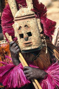 "Africa | ""Hyena"" maskerader.  Dogon Country, Mali | ©Michel Renaudeau"