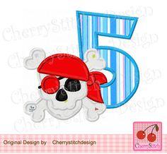 Birthday Number 5,Pirate Skull Digital Applique -4x4 5x7 6x10-Machine Embroidery Applique Design by CherryStitchDesign on Etsy