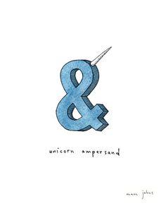 unicorn ampersand - Signed Print