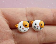 Cat Earrings - Cat Studs - Cat Jewellery - Calico Cat Earrings - Cat Jewelry - Cat Earrings Stud Valentines Day Gift