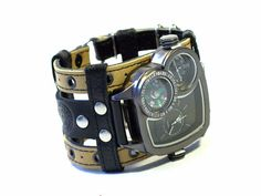Mens Watch Leather Bracelet Safari-3.Steampunk Watch. by dganin