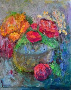 Still life. Flowers. Modern experiment. Oil