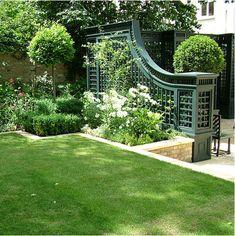 Arabella Lennox-Boyd Landscape and Architectural Design; Stunning garden design and Chelsea Flower Show 'Best Garden' award winner. Back Gardens, Outdoor Gardens, Indoor Garden, Landscape Design, Garden Design, Garden Trellis, Trellis Fence, Lattice Fence, Garden Structures