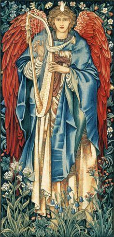 Edward Burne-Jones and William Morris Angels Among Us, Angels And Demons, Edward Burne Jones, Dante Gabriel Rossetti, I Believe In Angels, Pre Raphaelite, Illustration, Guardian Angels, Art Moderne