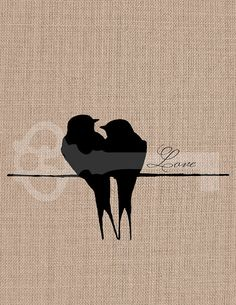 Love birds silhouette digital download: Image No.722, Commercial and Personal Use, image transfer, printable artwork