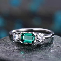 Three Stone Engagement Ring Green Lab-Emerald 14k white gold-handmade Moissanite ring-6x4mm Claw cut gemstone promise ring-Gift for her - BBBGEM