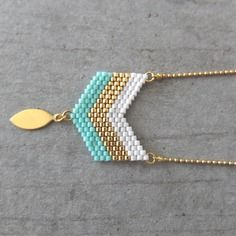 Collier ★ chevrons★doré à l'or fin 24k