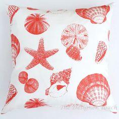 Cream White Coral Designer Throw Pillow Lumbar Euro Sham Cushion Cover 16x16 18x18 20x20 -Beach Seashells