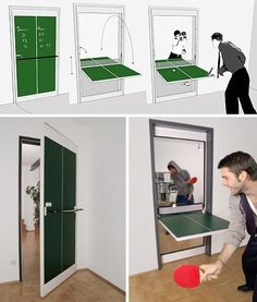 Interior Door Design Flips & Doubles as Ping-Pong Table