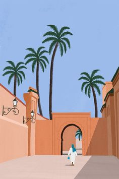 Marrakech on Behance Minimalist Wallpaper, Minimalist Art, Graphic Design Illustration, Digital Illustration, Watercolour Illustration, Painting Inspiration, Art Inspo, Moroccan Art, Posters Vintage