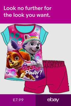 Kids Girls Pyjamas Set Cotton Short Sleeves Disney Official PAW PATROL  3-6-8 YRS d2216a13e578