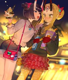 Amusement Park Date Anime Girl Neko, Anime Art Girl, Manga Art, Kawaii Anime, Character Art, Character Design, Character Concept, Gilgamesh Fate, Ibaraki