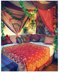 Instagram #tapestry #bedroom #boho #hippie #bohemian Set dressing for shoot number two! This is my actual bed/bedroom. 🌿 #bohemian #boho #bohostyle Wall Murals Bedroom, Room Design Bedroom, Room Ideas Bedroom, Decor Room, Wall Decor, Bedroom Bed, White Bedroom, Bedroom Inspo, Bed Room
