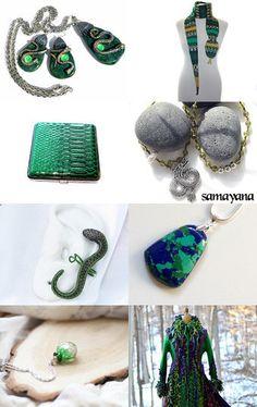 Lovely green snakes and dragons by Tatyana Nesterova on Etsy--Pinned with TreasuryPin.com