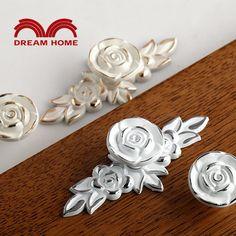 10Pcs Rose Flower Painted Ivory Cabinet Knob Cupboard Dresser Furniture Kitchen Drawer Knobs Handle Pulls Silver lining