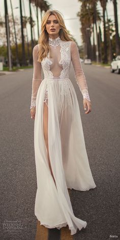 berta 2019 muse bridal long sleeves high neck heavily embellished bodice high slit skirt sexy soft a line wedding dress keyhole back chapel train (7) mv #weddingdress