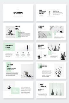Burra – Clean Simple PowerPoint Presentation Template – Famous Last Words Portfolio Design Layouts, Page Layout Design, Product Design Portfolio, Template Portfolio, Design Portfolios, Indesign Presentation, Presentation Layout, Powerpoint Presentation Themes, Presentation Slides Design
