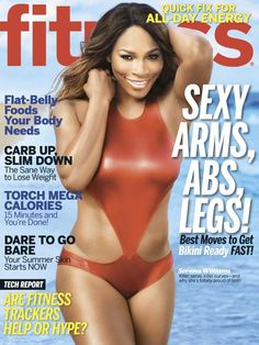 Serena Williams sports a sexy red swimsuit on the cover of Fitness magazine.