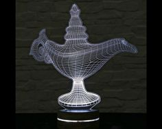 3D LED Lamp, Aladdin's Magic Lamp, Decorative Lamp, Home Decor, Table Lamp, Office Decor, Plexiglass Art, Art Deco Lamp, Acrylic Night Light by ArtisticLamps