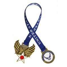 """The Air Force Veteran Bookmark are a wonderful tribute that can be seen everyday as a special memorial to your loved one. This bookmark has a brass embellishment on both ends of the 10"""" blue satin ribbon. On one end the Hap Arnold wing design, on the other a die struck brass coin with """"United States Air Force Veteran"""" in gold lettering and the Air Force seal emblem. #veteran #airforce  #bookmark Challenge Coin Display, Military Challenge Coins, Wings Design, Sympathy Gifts, Gold Letters, Blue Satin, Shadow Box, Air Force, Ribbon"""