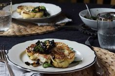 Cauliflower Steak with Black Olive and Currant Gremolata from strawberryplum