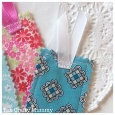 Fabric Scrap Bookmarks - I made one for my piano teacher. Very easy to make! I also ironed on a letter for her name. ❤️ this craft!!!
