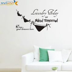 livraison gratuite faire la lessive des v tements wall sticker salon chambre d cor mural art. Black Bedroom Furniture Sets. Home Design Ideas
