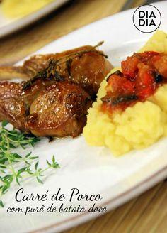 Carré de Porco com Purê de Batata-Doce Diy Food, Good Food, Pork, Beef, Chicken, Recipes, Pot Roast, Roast Beef In Oven, Kale Stir Fry