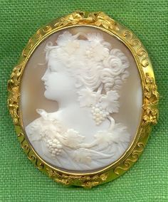 Antique Carved Shell Cameo Depicting Bacchante, Mounted In 15k Gold - French   c.1860-1870  -  In The Swan's Shadow