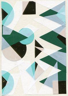 Green, aqua, black & white cubism art