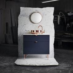 Toppar till Superfronts badrumskommoder som byggs på Ikeas Metod-stomme