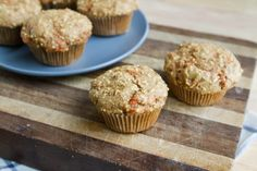 Carrot/millet/ginger muffins!   Tastes like a treat.  I used coconut oil and added some flax.