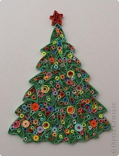 quilled christmas tree  stranamasterov.ru/  Could something like this be done with colored pastas?