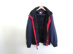90s Tommy Hilfiger hooded windbreaker jacket by Cardigan King // $89