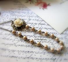 Flower Necklace Romantic Antique necklace White by LeBijouAntique