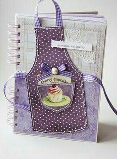 Caderno de receita Roxo, lilas e branco. Amei!